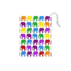 Rainbow Colors Bright Colorful Elephants Wallpaper Background Drawstring Pouches (small)  by Simbadda