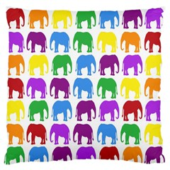 Rainbow Colors Bright Colorful Elephants Wallpaper Background Large Flano Cushion Case (two Sides) by Simbadda