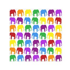 Rainbow Colors Bright Colorful Elephants Wallpaper Background Small Satin Scarf (square) by Simbadda