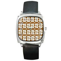 Art Abstract Background Pattern Square Metal Watch by Simbadda