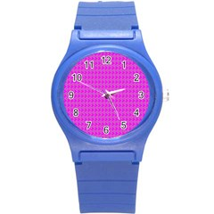 Clovers On Pink Round Plastic Sport Watch (s) by PhotoNOLA
