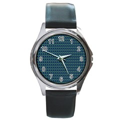 Clovers On Dark Blue Round Metal Watch by PhotoNOLA
