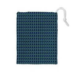 Clovers On Dark Blue Drawstring Pouches (large)  by PhotoNOLA