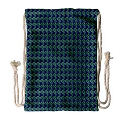 Clovers On Dark Blue Drawstring Bag (large) by PhotoNOLA