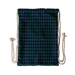 Clovers On Dark Blue Drawstring Bag (small) by PhotoNOLA