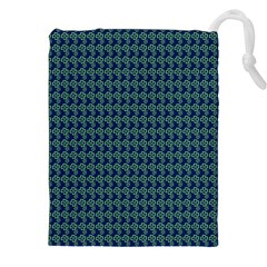 Clovers On Dark Blue Drawstring Pouches (xxl) by PhotoNOLA