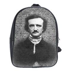 Edgar Allan Poe  School Bags(large)  by Valentinaart