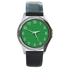 Clovers On Dark Green Round Metal Watch by PhotoNOLA