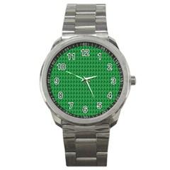 Clovers On Dark Green Sport Metal Watch by PhotoNOLA