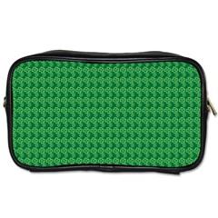 Clovers On Dark Green Toiletries Bags by PhotoNOLA