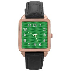 Clovers On Dark Green Rose Gold Leather Watch  by PhotoNOLA