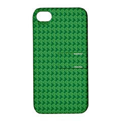 Clovers On Dark Green Apple Iphone 4/4s Hardshell Case With Stand by PhotoNOLA