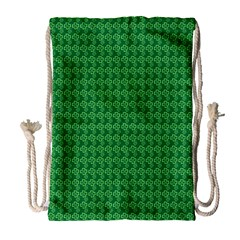 Clovers On Dark Green Drawstring Bag (large) by PhotoNOLA