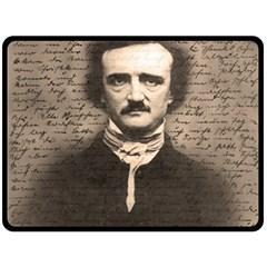 Edgar Allan Poe  Fleece Blanket (large)  by Valentinaart