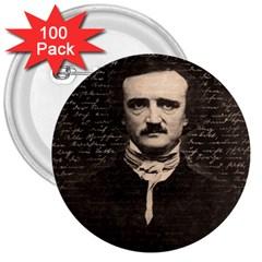 Edgar Allan Poe  3  Buttons (100 Pack)  by Valentinaart
