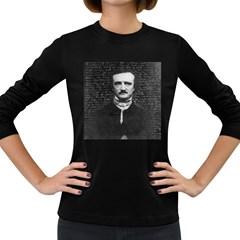 Edgar Allan Poe  Women s Long Sleeve Dark T Shirts by Valentinaart