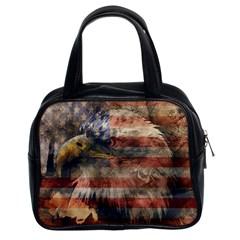 Vintage Eagle  Classic Handbags (2 Sides) by Valentinaart