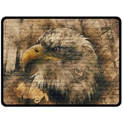 Vintage Eagle  Double Sided Fleece Blanket (large)  by Valentinaart