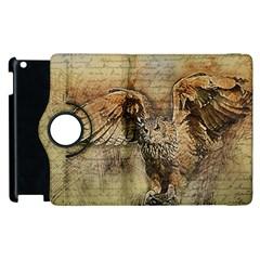 Vintage Owl Apple Ipad 2 Flip 360 Case by Valentinaart