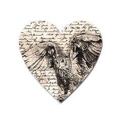 Vintage Owl Heart Magnet by Valentinaart