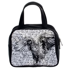 Vintage Owl Classic Handbags (2 Sides) by Valentinaart