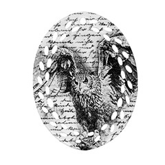 Vintage Owl Oval Filigree Ornament (two Sides) by Valentinaart