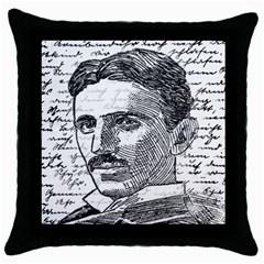Nikola Tesla Throw Pillow Case (black) by Valentinaart