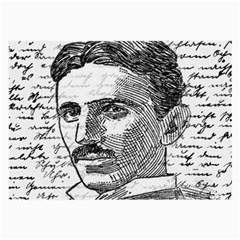 Nikola Tesla Large Glasses Cloth (2 Side) by Valentinaart