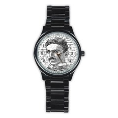 Nikola Tesla Stainless Steel Round Watch by Valentinaart