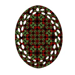 Asian Ornate Patchwork Pattern Oval Filigree Ornament (two Sides) by dflcprints