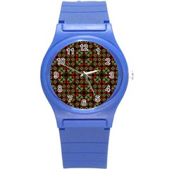 Asian Ornate Patchwork Pattern Round Plastic Sport Watch (s) by dflcprints