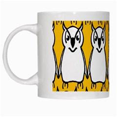 Yellow Owl Background White Mugs by Simbadda