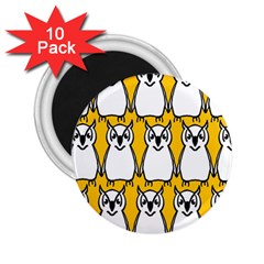 Yellow Owl Background 2 25  Magnets (10 Pack)  by Simbadda