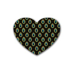 Peacock Inspired Background Heart Coaster (4 Pack)  by Simbadda