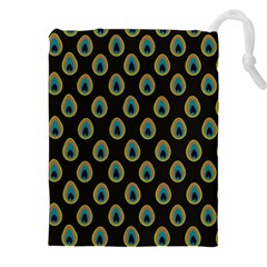 Peacock Inspired Background Drawstring Pouches (xxl) by Simbadda