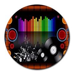 Music Pattern Round Mousepads by Simbadda