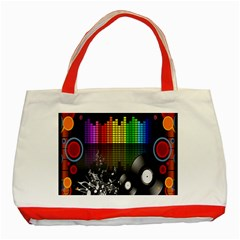 Music Pattern Classic Tote Bag (red) by Simbadda