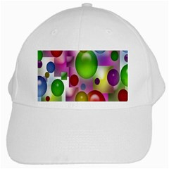 Colorful Bubbles Squares Background White Cap by Simbadda