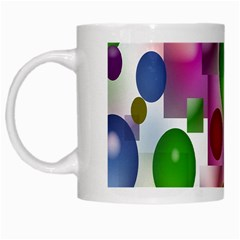 Colorful Bubbles Squares Background White Mugs by Simbadda