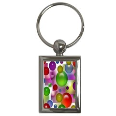 Colorful Bubbles Squares Background Key Chains (rectangle)  by Simbadda