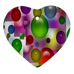 Colorful Bubbles Squares Background Heart Ornament (two Sides) by Simbadda