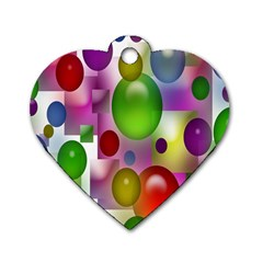 Colorful Bubbles Squares Background Dog Tag Heart (two Sides) by Simbadda
