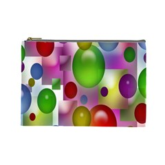 Colorful Bubbles Squares Background Cosmetic Bag (large)  by Simbadda