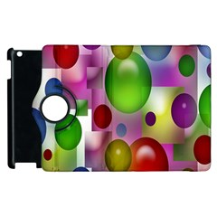 Colorful Bubbles Squares Background Apple Ipad 2 Flip 360 Case by Simbadda