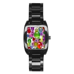 Colorful Bubbles Squares Background Stainless Steel Barrel Watch by Simbadda