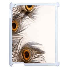 Peacock Feathery Background Apple Ipad 2 Case (white) by Simbadda