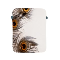 Peacock Feathery Background Apple Ipad 2/3/4 Protective Soft Cases by Simbadda