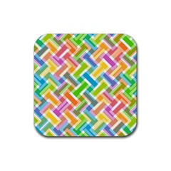 Abstract Pattern Colorful Wallpaper Rubber Square Coaster (4 Pack)  by Simbadda