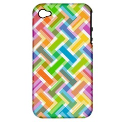 Abstract Pattern Colorful Wallpaper Apple Iphone 4/4s Hardshell Case (pc+silicone) by Simbadda
