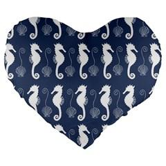 Seahorse And Shell Pattern Large 19  Premium Heart Shape Cushions by Simbadda